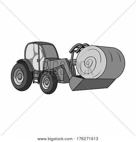 Orange tractor with a ladle transporting hay bale. Agricultural vehicles.Agricultural Machinery single icon in monochrome style vector symbol stock web illustration.