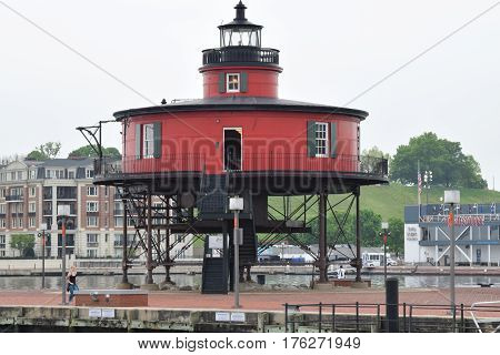 7ft knoll lighthouse, Baltimore MD, inner harbor, screw pile bottom Patapsco River, Chesapeake Bay,