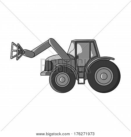 Combine with long hydraulic legs to capture the hay.Agricultural Machinery single icon in monochrome style vector symbol stock web illustration.