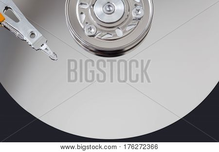 Hard disk surface and magnetic head closeup
