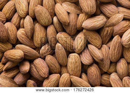 Peeled almond nuts pile top view closeup