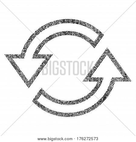 Sync Arrows vector textured icon for overlay watermark stamps. Fabric black vectorized texture. Symbol with unclean design. Rubber seal stamp with fiber textile structure.
