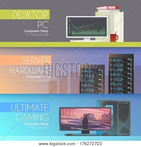 Set of flat vector banners on the theme: assembling a desktop computer, buy computer, computer repair, servers.