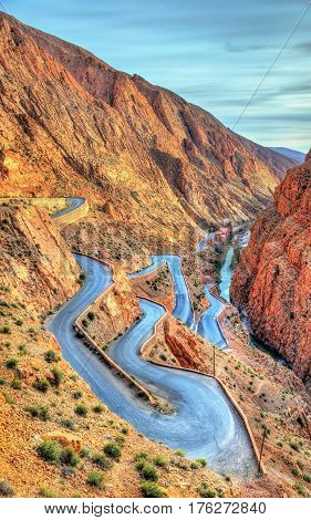Winding mountain road at the Dades Gorges in Morocco