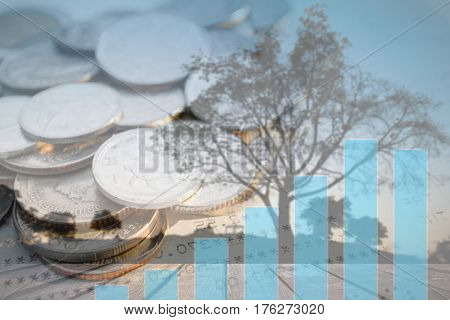 Double exposure of money coins with growing graph Blurred black tree silhouettes background Finance and banking concept.