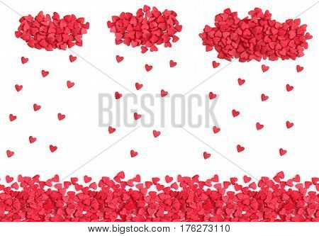 Hearts rain, horizontal seamless background with copy space, red candy sprinkles isolated over white.