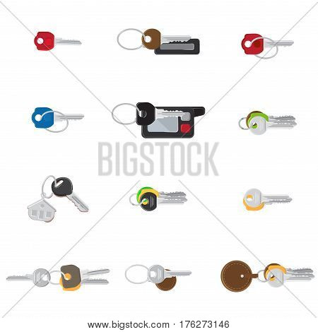 Big keys set vector illustration of different color shape with keyfobs and keychain. Single keys from dwelling, bunches of keys and two car keys isolated on white background in cartoon style