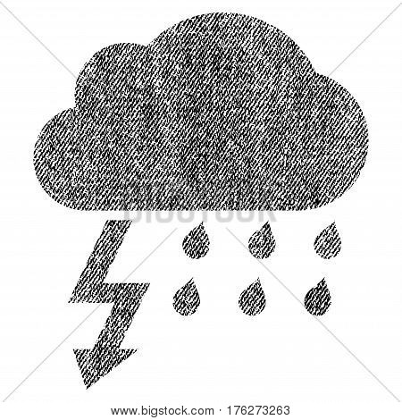 Thunderstorm vector textured icon for overlay watermark stamps. Fabric black vectorized texture. Symbol with dust design. Rubber seal stamp with fiber textile structure.