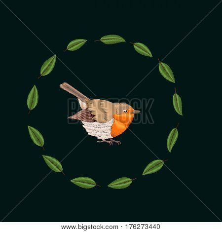 Vector embroidery Blackthorn leaves and robin bird. Illustrations vintage design