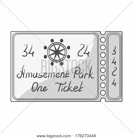 Ticket for passage to the territory of the amusement park.Amusement park single icon in monochrome style vector symbol stock web illustration.