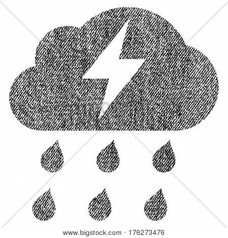 Thunderstorm vector textured icon for overlay watermark stamps. Fabric black vectorized texture. Symbol with scratched design. Rubber seal stamp with fiber textile structure.
