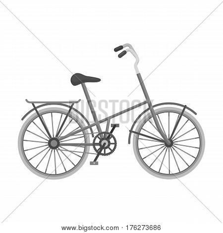 Children s bicycle with low frame and luggage compartment flaps.Different Bicycle single icon in monochrome style vector symbol stock web illustration.