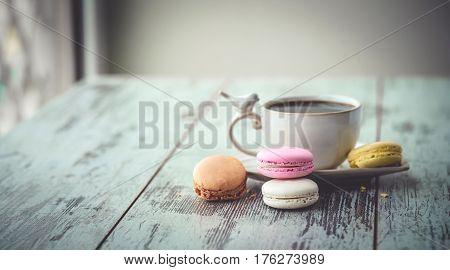 Multicolored Macaroon Cookies On Table