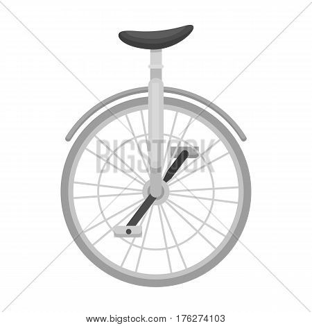 Unicycle for the circus. Bicycle with one wheel for performances.Different Bicycle single icon in monochrome style vector symbol stock web illustration.