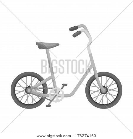 Little yellow children s bicycle. Bicycles for children and a healthy lifestyle.Different Bicycle single icon in monochrome style vector symbol stock web illustration.