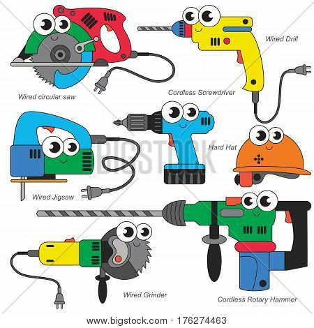Vector set of Funny Colorful Rainbow Power Tools.