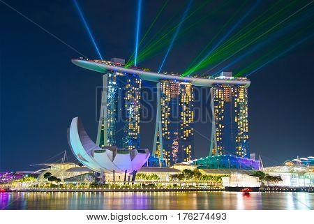 Marina Bay Lights Show. Singapore