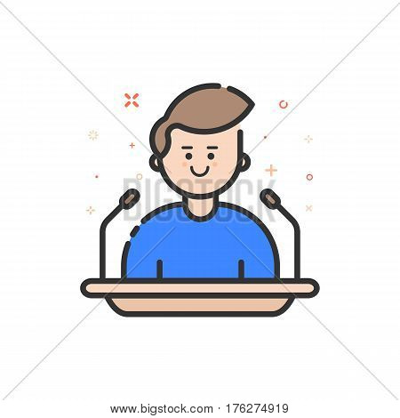 Vector illustration in flat bold outline style with boy - orator speaking from tribune. Concept of business lectern giving public speech. Use in Web Project and Applications. Line stock object.