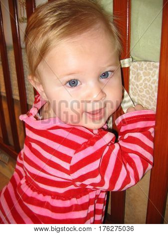 girl toddler stripes happy baby cute blonde