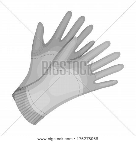 Garden gloves to work with the land in the garden. Protective gardener clothing.Farm and gardening single icon in monochrome style vector symbol stock web illustration.