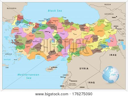 Turkey detailed administrative map with separated layers.