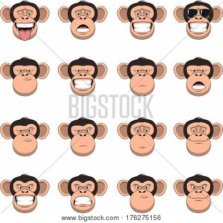 Vector illustration, funny chimpanzee smiling, set of monkey heads, different emotions, smileys, on a white background