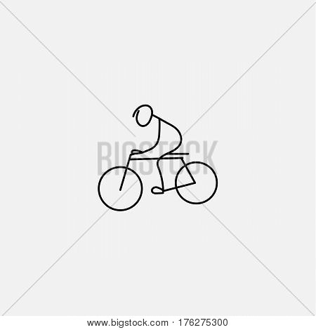 Minimalistic simple flat stick figure man riding bicycle icon. Vector illustration