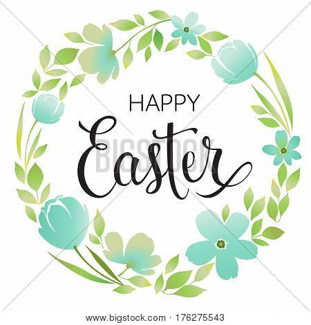 Happy Easter Typography Background with wreath and calligraphy greeting.