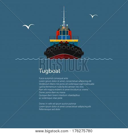 Front View of the Vessel Tugboat, Tow Boat and Text, Push Boat for to Towage and Mooring of Other Courts , Poster Brochure Flyer Design, Vector Illustration