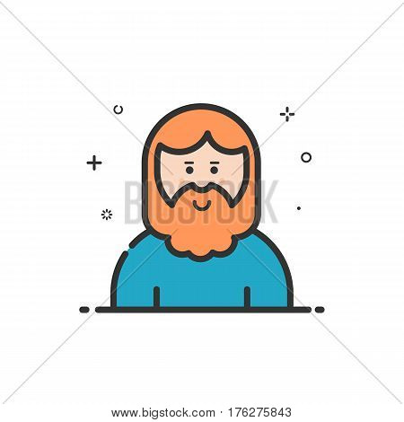 Vector illustration of icon in flat line style. Linear cute and smiling hipser man with beard. Graphic design concept of avatar use in Web Project and Applications Outline isolated object.
