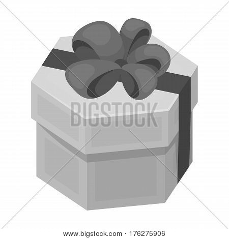 A yellow festive gift in a purple ribbon.Gifts and Certificates single icon in monochrome style vector symbol stock web illustration.