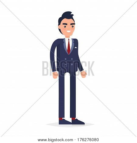 Modern young businessman in navy-blue shoes and suit with handkerchief in pocket, red tie and socks stands and smiles on white background. Cartoon male character isolated vector illustration.