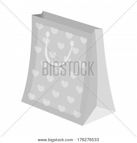 Gift package with beautiful patterns, stars and handles in the form of ropes.Gifts and Certificates single icon in monochrome style vector symbol stock web illustration.