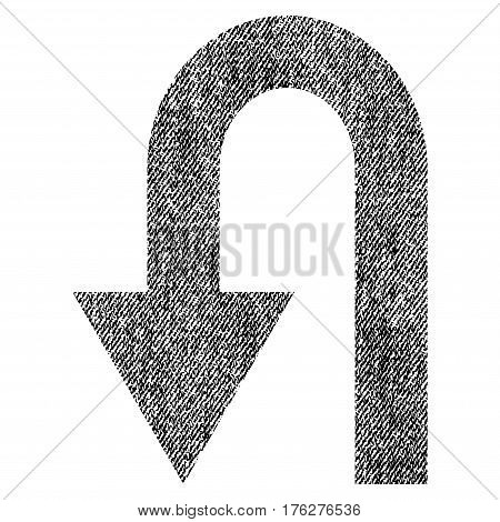 Turn Back vector textured icon for overlay watermark stamps. Fabric black vectorized texture. Symbol with dust design. Rubber seal stamp with fiber textile structure.