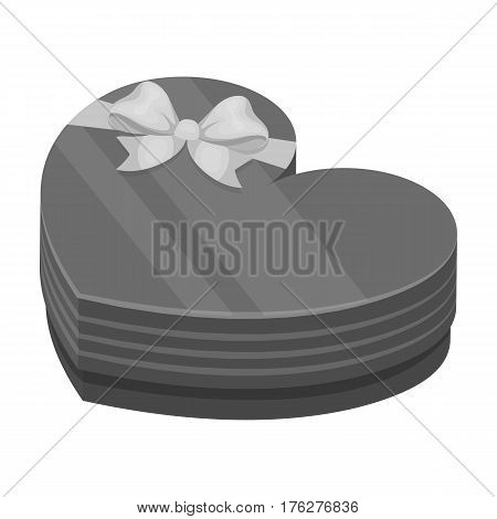 A box in the form of a red heart. A gift to a loved one.Gifts and Certificates single icon in monochrome style vector symbol stock web illustration.