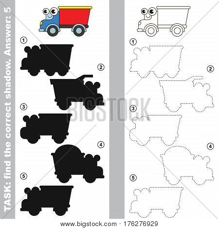 Lorry with different shadows to find the correct one. Compare and connect object with it true shadow. Easy educational kid gaming. Simple level of difficulty. Visual game for children.