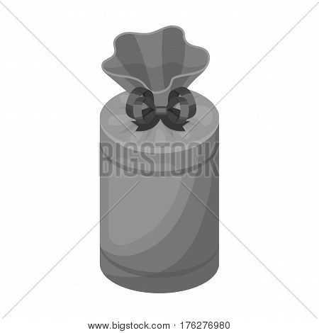 Gift wrap in the form of a huge candy in a wrapper.Gifts and Certificates single icon in monochrome style vector symbol stock web illustration.