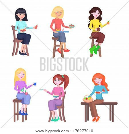 Mothers stretching hands with food in dinnerware poster with white background. Vector feeding process, mums casual daily routine. Mothers sitting on wooden stools or bench and giving healthy meal