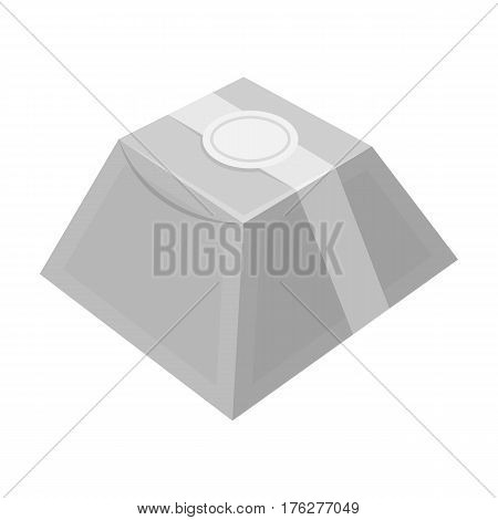 Gift in the form of a pyramid. Gift wrap on holiday.Gifts and Certificates single icon in monochrome style vector symbol stock web illustration.