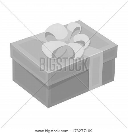 gift for a holiday with an yellow bow.Gifts and Certificates single icon in monochrome style vector symbol stock web illustration.