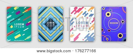 Four colorful covers collection in flat design on grey background. Vector poster of bright brochures or leaflets with straight and round lines, random spots and free space for inscriptions.