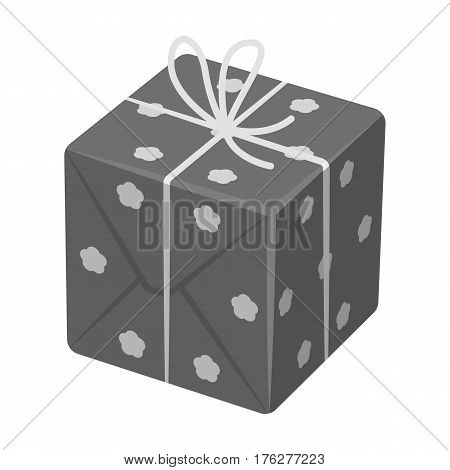 box in white peas. Wrapped in a rope with a bow.Gifts and Certificates single icon in monochrome style vector symbol stock web illustration.