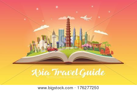 Travel to Asia. Road trip. Tourism. Open book with landmarks. Asia Travel Guide. Advertising web illustration. Summer vacation. Travelling banner. Modern flat design. EPS 10.
