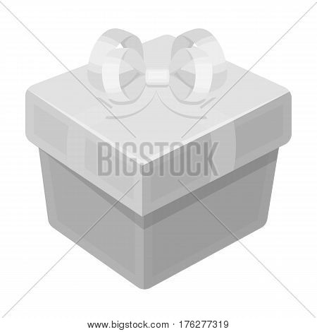 A blue gift box with a bow.Gifts and Certificates single icon in monochrome style vector symbol stock web illustration.