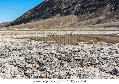View of the salty pool at Badwater in Death Valley National Park, California