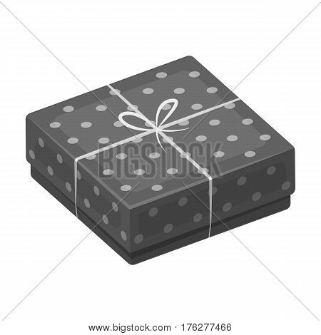 Purple gift for polka dots. Gift wrap on holiday.Gifts and Certificates single icon in monochrome style vector symbol stock web illustration.