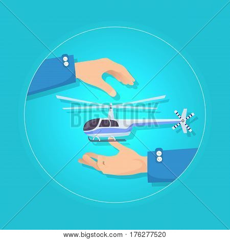 Fast modern blue and gray helicopter on blue background. Type of rotorcraft in which lift and thrust are supplied by rotors. Two hands present new aircraft insurance concept. Take care in flat style