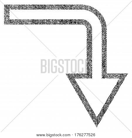 Turn Down vector textured icon for overlay watermark stamps. Fabric black vectorized texture. Symbol with dust design. Rubber seal stamp with fiber textile structure.