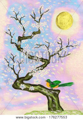 Bird on branch with white flowers hand painted picture watercolours and acrylic in traditions of old Chinese art.