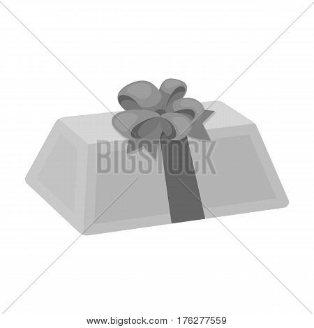 A flesh-colored gift with a red bow. Sweet present.Gifts and Certificates single icon in monochrome style vector symbol stock web illustration.